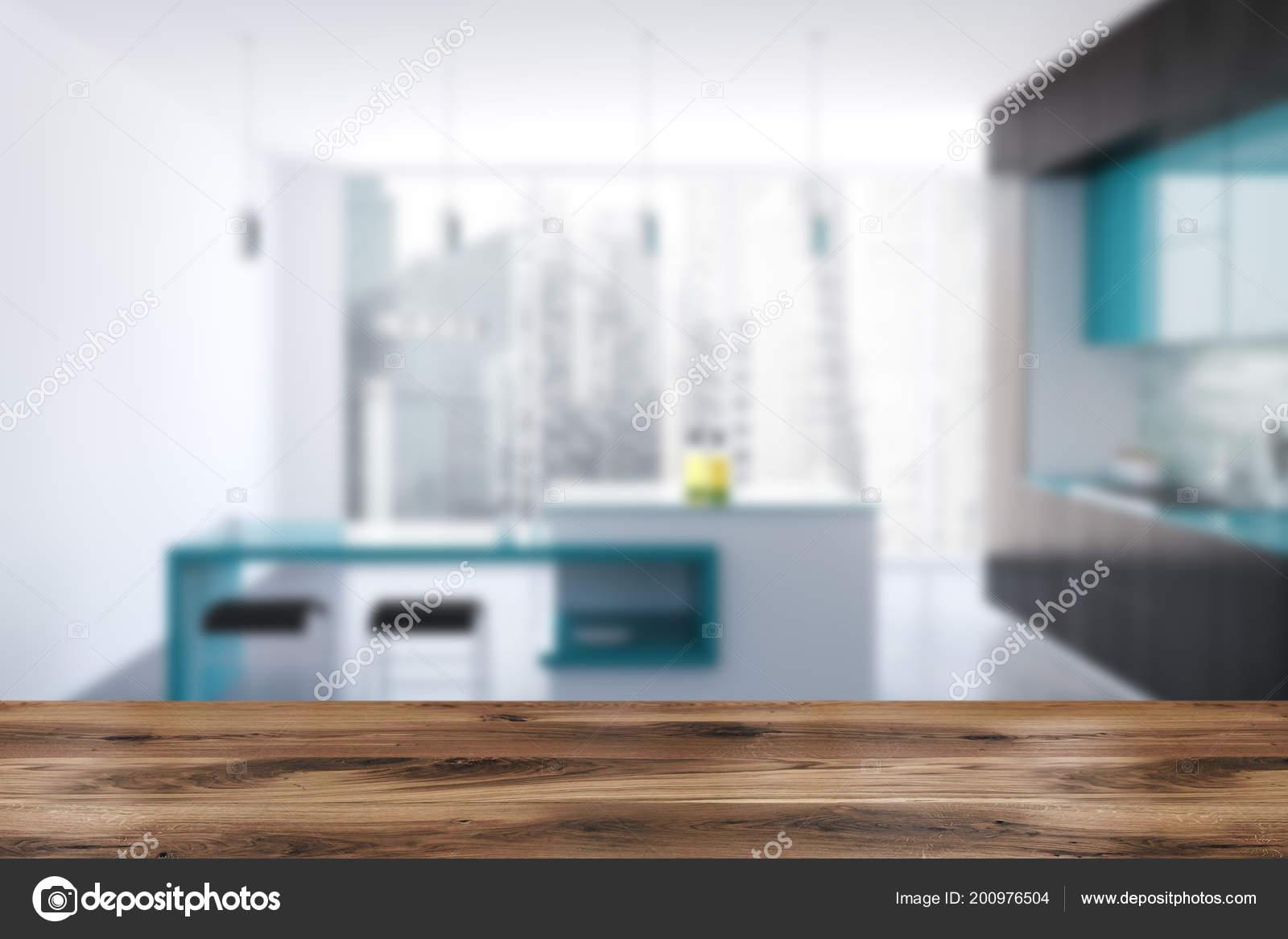 primal kitchen bars table and bench 黑白原始厨房内部有混凝土地板黑色和蓝色台面和全景窗口渲染模拟模糊 黑白原始厨房内部有混凝土地板 黑色和蓝色台面和全景窗口 酒吧 3d 渲染模拟模糊 照片作者denisismagilov