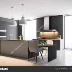 Built In Kitchen Table Lights For Over 阁楼厨房角落深灰色的墙壁混凝土地板和灰色台面与内置的家电和一个桌子 阁楼厨房角落 深灰色的墙壁 混凝土地板和灰色台面与内置的家电和一个桌子 椅子 3d 渲染模拟 照片作者denisismagilov
