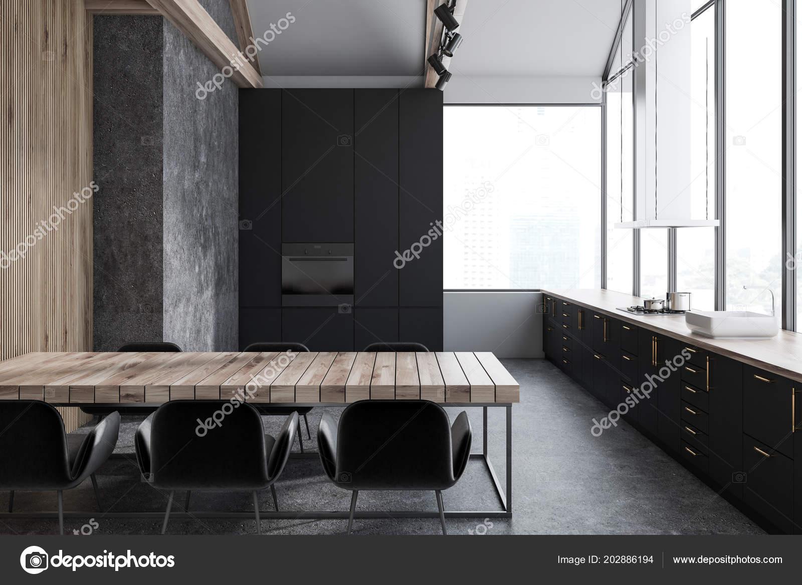 concrete kitchen table under mount sinks 狭窄的白色和混凝土厨房内部与混凝土地板黑色台面和全景窗口有椅子的长 狭窄的白色和混凝土厨房内部与混凝土地板 黑色台面和全景窗口 有椅子的长桌子 3d 渲染模拟 照片作者denisismagilov