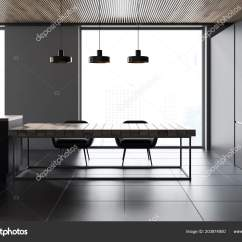 Kitchen Banquettes For Sale Unique Gadgets 侧面的全景厨房内部与灰色的墙壁瓷砖地板和一个长的木桌与椅子渲染模拟 侧面的全景厨房内部与灰色的墙壁瓷砖地板和一个长的木