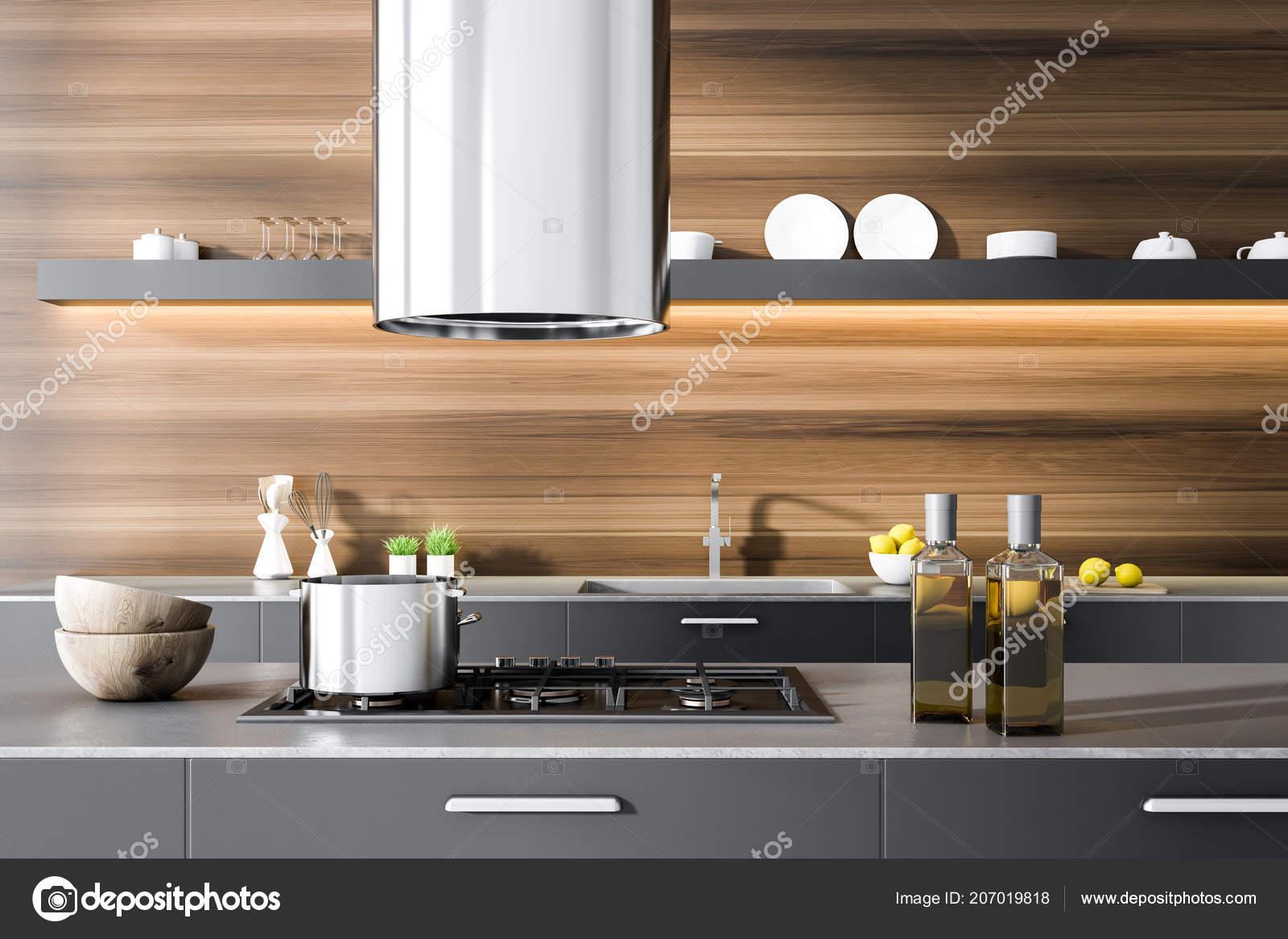 grey kitchen countertops table sets cheap 灰色厨房台面与炊具和瓶子在一个黑暗的木制厨房内部在背景中有盘子的长 灰色厨房台面与炊具和瓶子在一个黑暗的木制厨房内部在