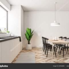 Black Kitchen Tables Valance Curtains For 现代餐厅和厨房内部有白色的墙壁一个大的窗口一个木地板和一个黑色的椅子 现代餐厅和厨房内部有白色的墙壁 一个大的窗口 一个木地板和一个黑色的椅子桌子 侧面视图3d 渲染 照片作者denisismagilov