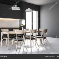 Concrete Kitchen Table Estimator 法国窗户厨房的侧面视图带有黑色的墙壁一层混凝土地板一张桌子椅子和黑色 法国窗户厨房的侧面视图 带有黑色的墙壁 一层混凝土地板 一张桌子 椅子和黑色台面 3d 渲染 照片作者denisismagilov