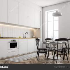 White Round Kitchen Table Spring Faucet 时尚的厨房内饰白色的墙壁木地板和白色台面和衣柜带有椅子侧面视图的桌子 时尚的厨房内饰 白色的墙壁 木地板和白色台面和衣柜 带有椅子侧面视图的桌子 3d 渲染模拟 照片作者denisismagilov