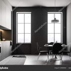 Gray Kitchen Chairs Utility Knife 现代厨房内部的灰色墙壁大窗户混凝土地板和白色台面墙上摆着椅子和海报的 现代厨房内部的灰色墙壁 大窗户 混凝土地板和白色台面 墙上摆着椅子和海报的圆桌 3d 渲染模拟 照片作者denisismagilov