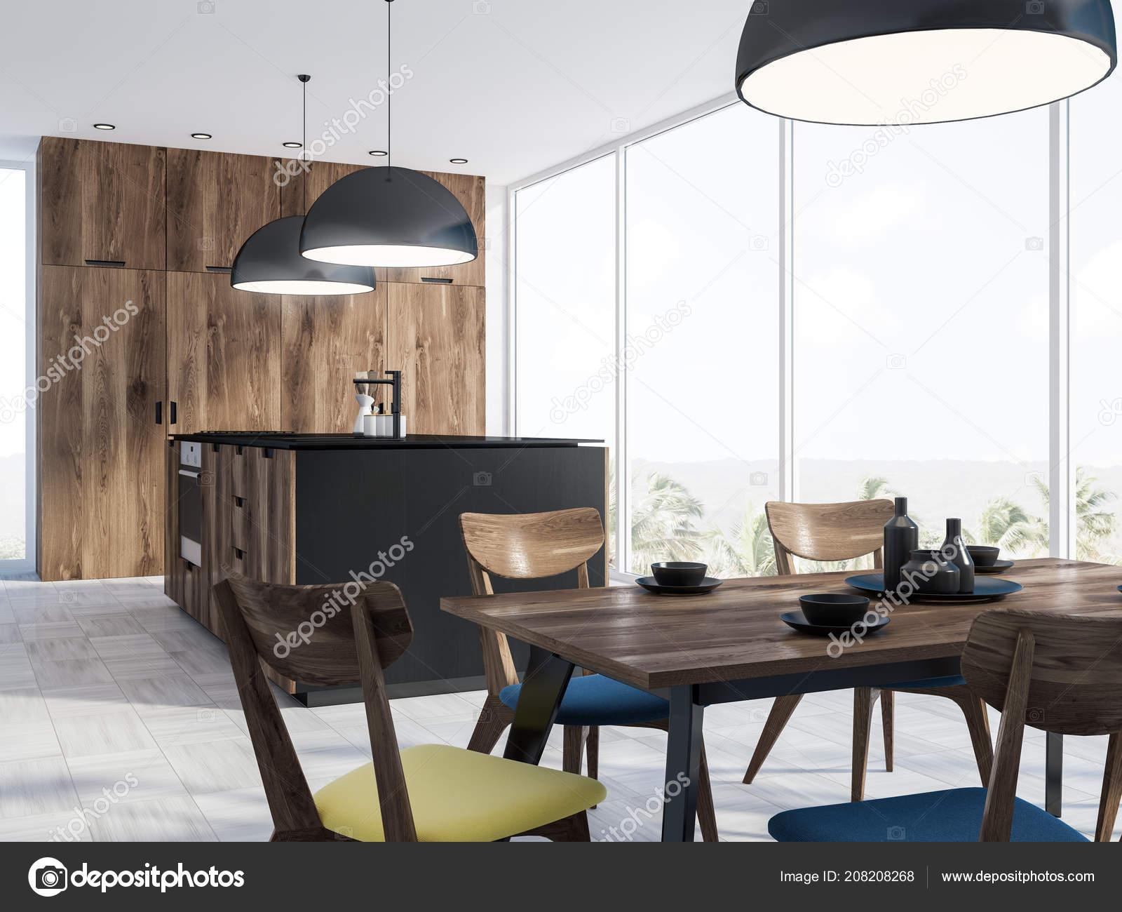 kitchen ceiling lights appliance bundles 全景厨房内部有一个混凝土地板一张桌子木制和黑色的柜台和黑色的天花板灯 全景厨房内部有一个混凝土地板 一张桌子 椅子 木制和黑色的柜台和黑色的天花板灯 3d 渲染 照片作者denisismagilov