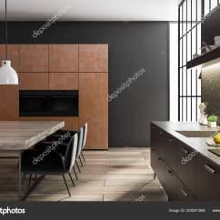 Built In Kitchen Table Countertops Types 黑色和混凝土墙厨房和饭厅内部有一个木地板棕色壁橱与内置的家电黑色台面 黑色和混凝土墙厨房和饭厅内部有一个木地板 棕色壁橱与内置的家电 黑色台面和一个木制桌子与椅子 3d 渲染侧面视图 照片作者denisismagilov