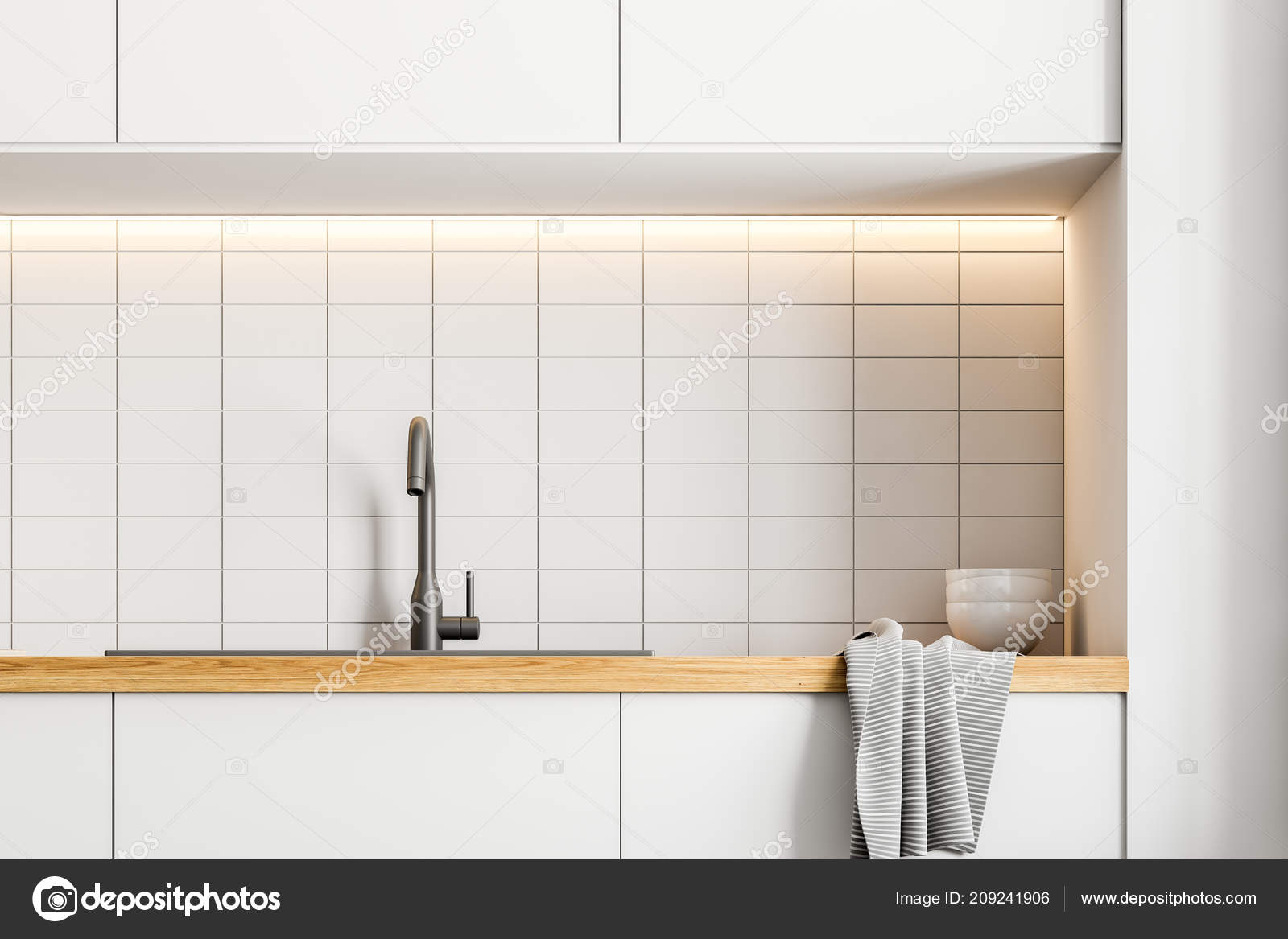 blanco kitchen sink wood chairs 关闭一个厨房水槽内置白色瓷砖厨房内部的白台面渲染模拟 图库照片 图库