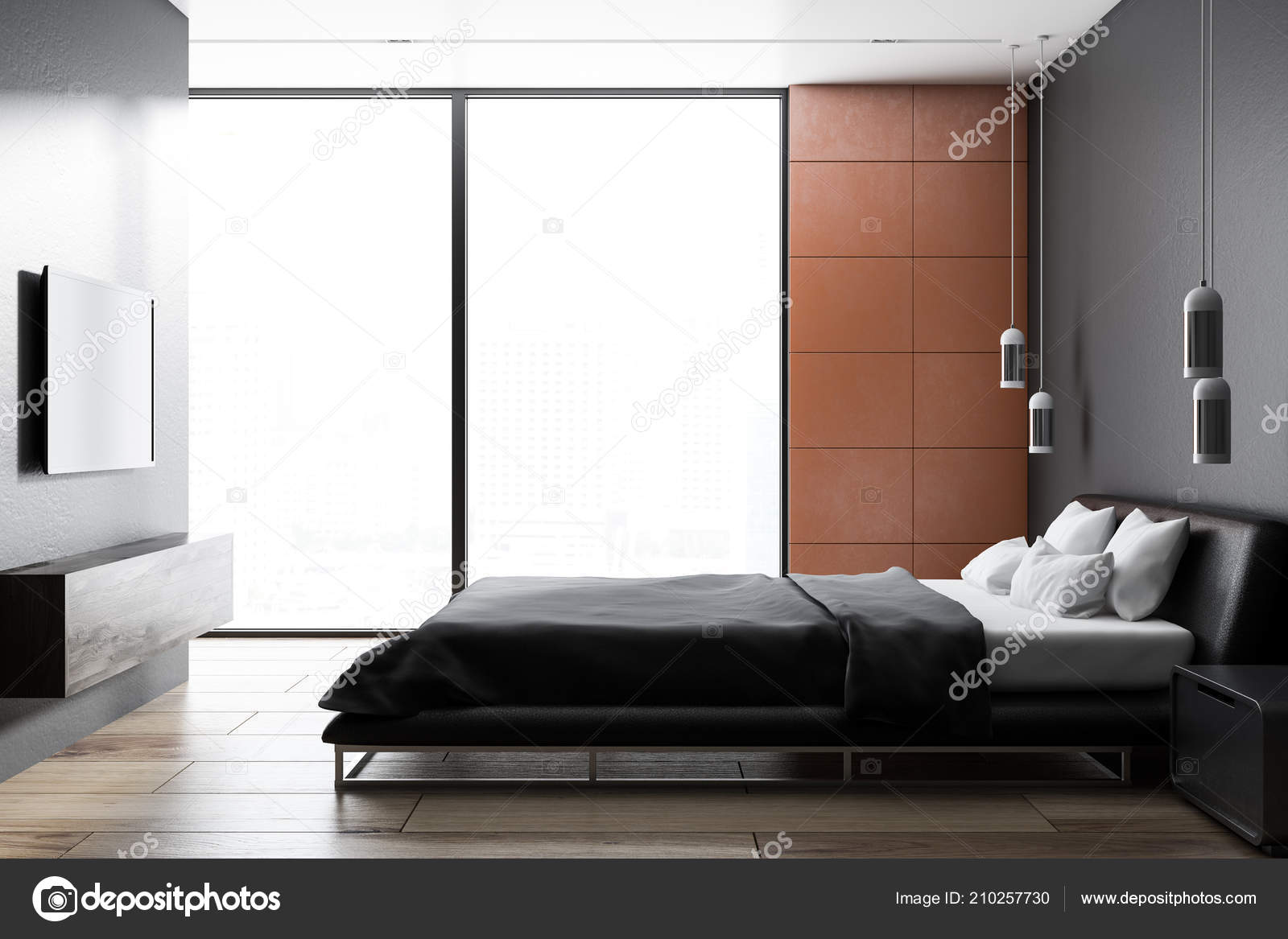 Bedroom Floor Tiles Design Ideas Modern Bedroom Interior Orang Tile Walls Wooden Floor Gray Master Stock Photo C Denisismagilov 210257730