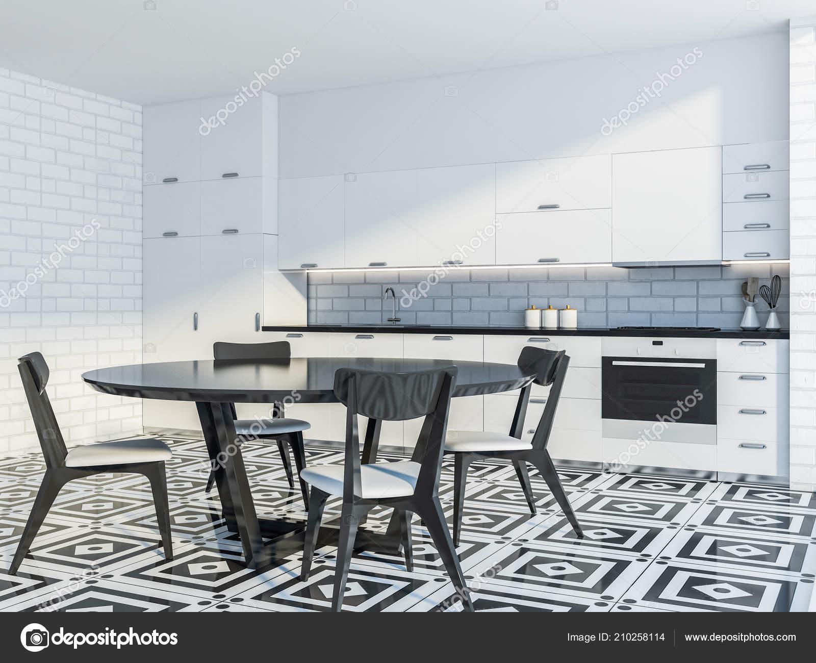 tile floors in kitchen black granite countertops 现代厨房内部的白色砖墙瓷砖地板和白色台面和衣柜带椅子的圆桌侧面视图3d 现代厨房内部的白色砖墙瓷砖地板和白色台面和衣柜带椅子
