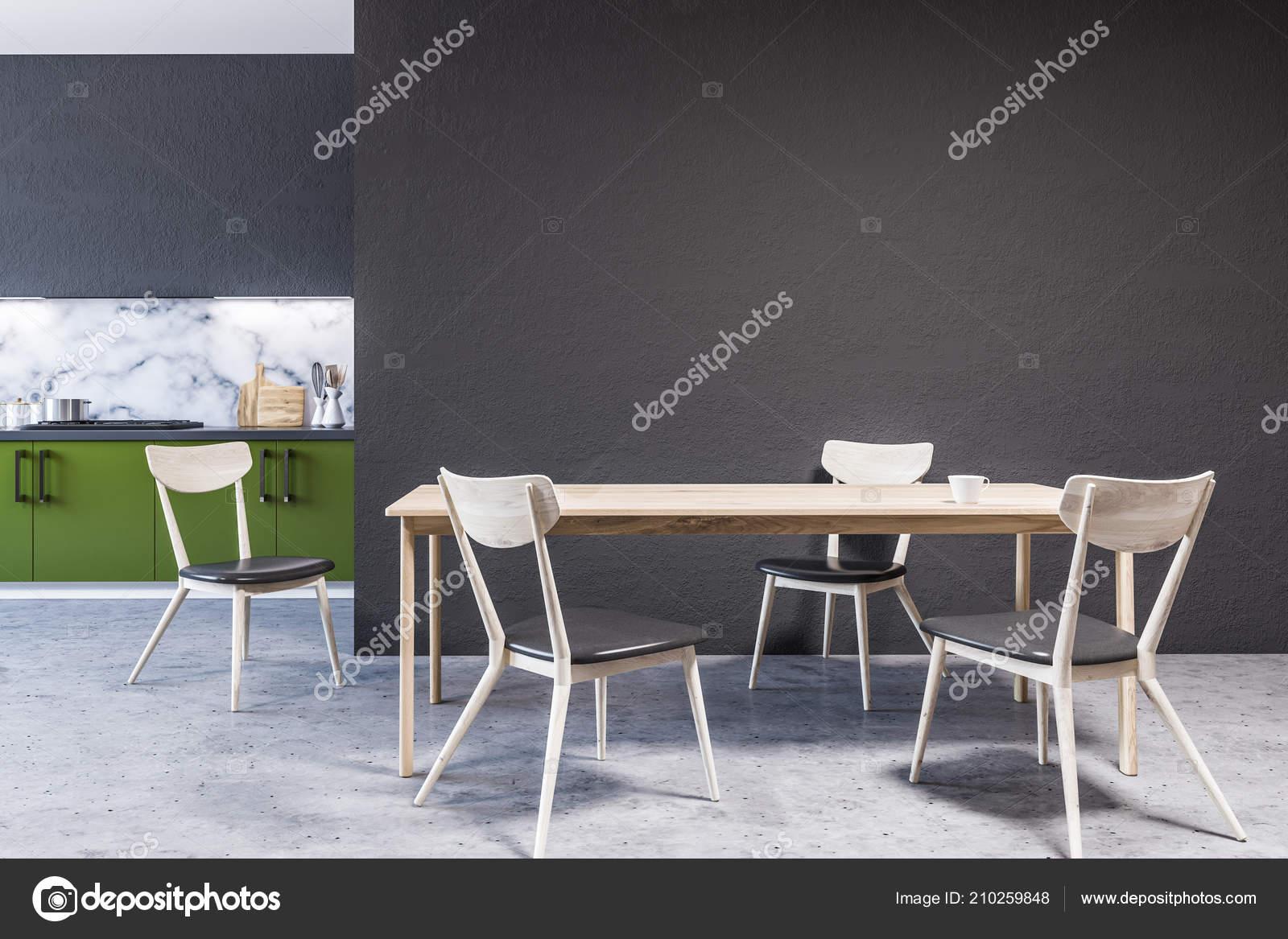 built in kitchen table chairs 现代大理石墙厨房内部的大窗户混凝土地板和绿色的台面与内置的家电有椅子 现代大理石墙厨房内部的大窗户 混凝土地板和绿色的台面与内置的家电 有椅子的木制桌子 3d 渲染模拟墙体 照片作者denisismagilov