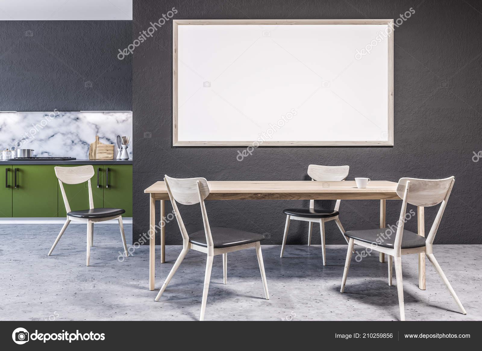 built in kitchen table tile for wall 现代大理石墙厨房内部的大窗户混凝土地板和绿色的台面与内置的家电有椅子 现代大理石墙厨房内部的大窗户 混凝土地板和绿色的台面与内置的家电 有椅子的木制桌子 3d 渲染模拟横幅框架 照片作者denisismagilov