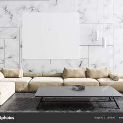 White Contemporary Living Room Recliner Modern Interior Marble Walls Concrete Floor Beige Stock Photo