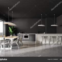 Pub Kitchen Table Black Set 现代餐厅和厨房的内部灰色的墙壁混凝土地板灰色台面一个木制酒吧与凳子和 现代餐厅和厨房的内部 灰色的墙壁 混凝土地板 灰色台面 一个木制酒吧与凳子和桌子的椅子 3d 渲染复制空间 照片作者denisismagilov