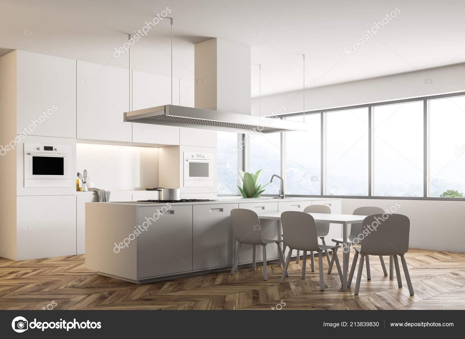 kitchen table nook rent to own homes in kitchener 现代厨房的角落里有白色的墙壁木地板大窗户一个白色的小岛和台面还有一张 现代厨房的角落里有白色的墙壁 木地板 大窗户 一个白色的小岛和台面 还有一张带有椅子的餐桌 3d 渲染模拟 照片作者denisismagilov