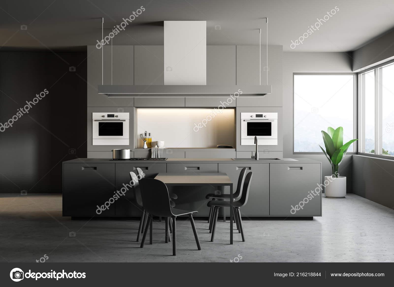 concrete kitchen table acrylic cabinets 室内的时尚厨房与灰色的墙壁混凝土地板灰色台面与建筑在家电一个岛屿和 室内的时尚厨房与灰色的墙壁 混凝土地板 灰色台面与建筑在家电 一个岛屿和一个灰色的桌子与椅子 3d 渲染复制空间 照片作者denisismagilov