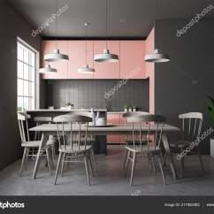 Gray Kitchen Floor Island And Stools 前视图的灰色瓷砖厨房与混凝土地板大窗户和粉红色的台面有椅子的木制桌子 前视图的灰色瓷砖厨房与混凝土地板大窗户和粉红色的台面
