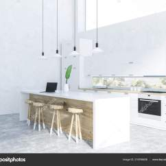 Concrete Kitchen Table Blinds For 厨房内饰用白色墙壁混凝土地板白色台面与修造在用具和桌用木制椅子渲染 厨房内饰用白色墙壁混凝土地板白色台面与修造在用具和桌