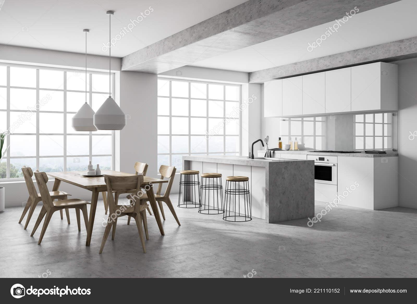 concrete kitchen table porcelain tile floor 现代厨房的侧视图白色墙壁混凝土地板白色台面一个岛屿一张桌子椅子和两个 现代厨房的侧视图白色墙壁混凝土地板白色台面一个岛屿一张桌子