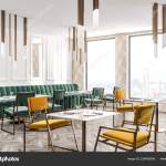 Corner Modern Restaurant Beige Geometric Pattern Walls Wooden Floor Green Stock Photo C Denisismagilov 226426508