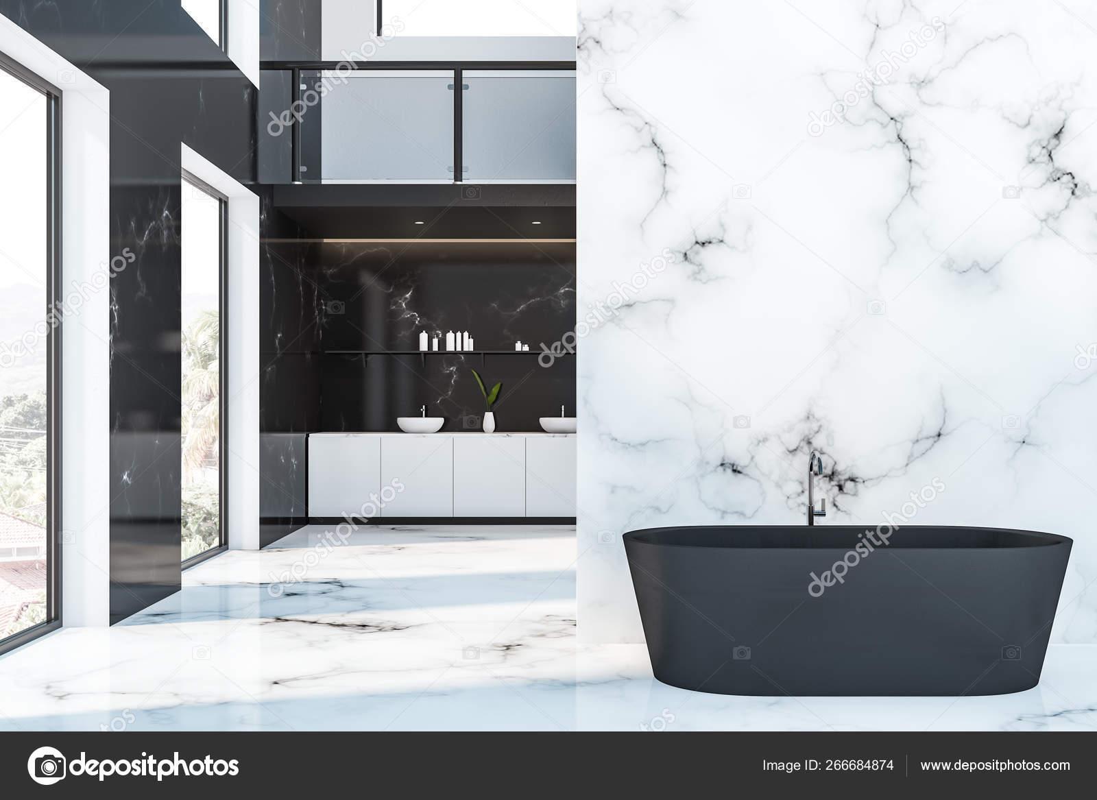 interieur de salle de bain hotel marbre noir et blanc image libre de droit par denisismagilov c 266684874