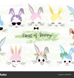 happy easter bunny face clipart easter gift stock vector [ 1600 x 1167 Pixel ]