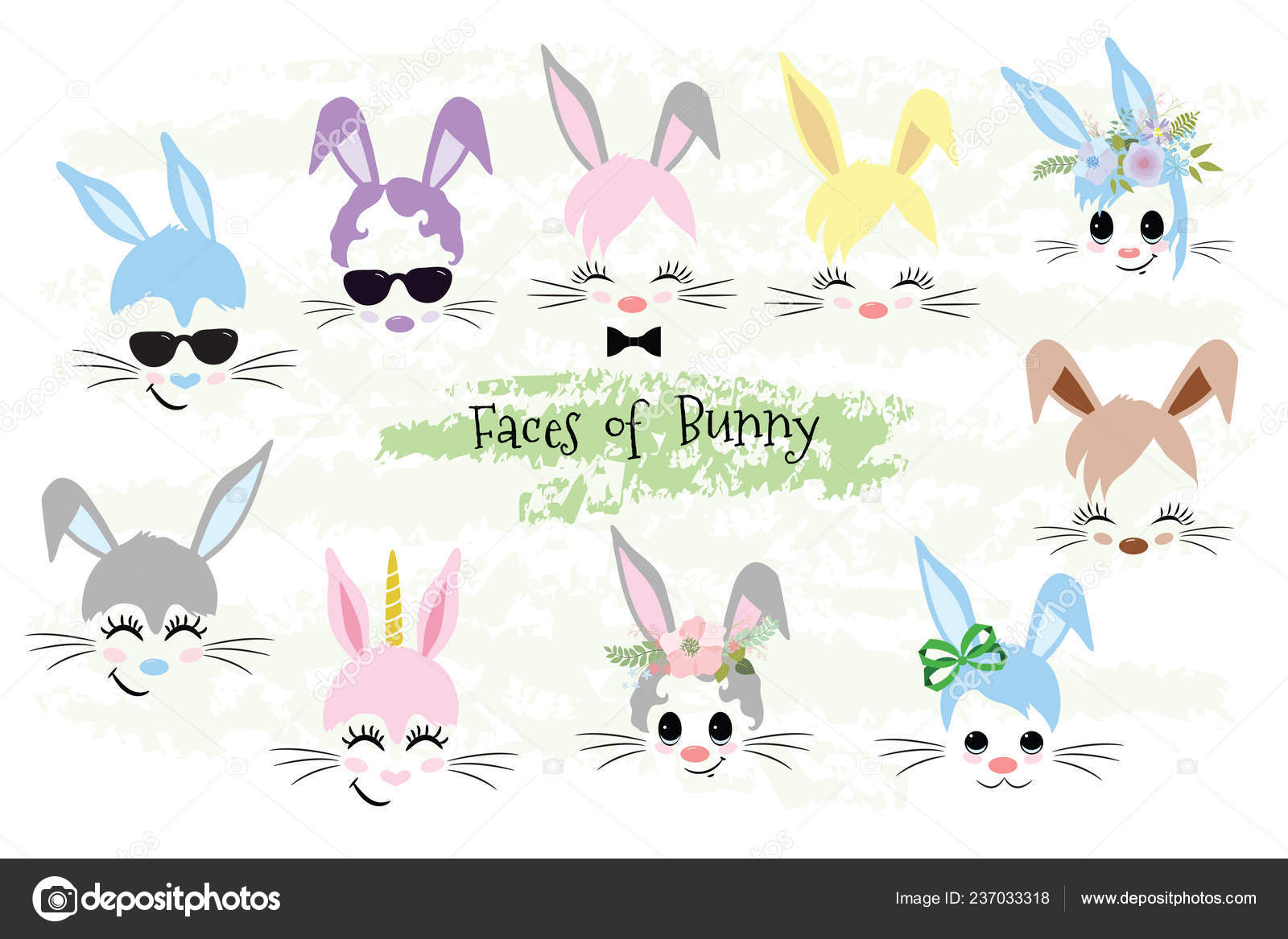 hight resolution of happy easter bunny face clipart easter gift stock vector