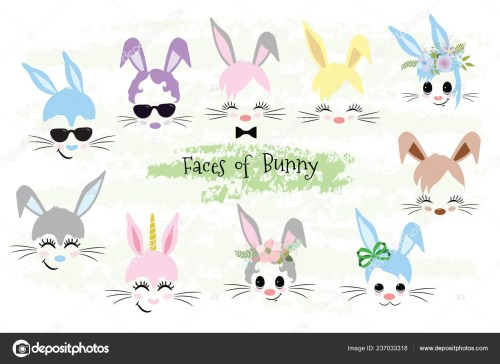 small resolution of happy easter bunny face clipart easter gift stock vector
