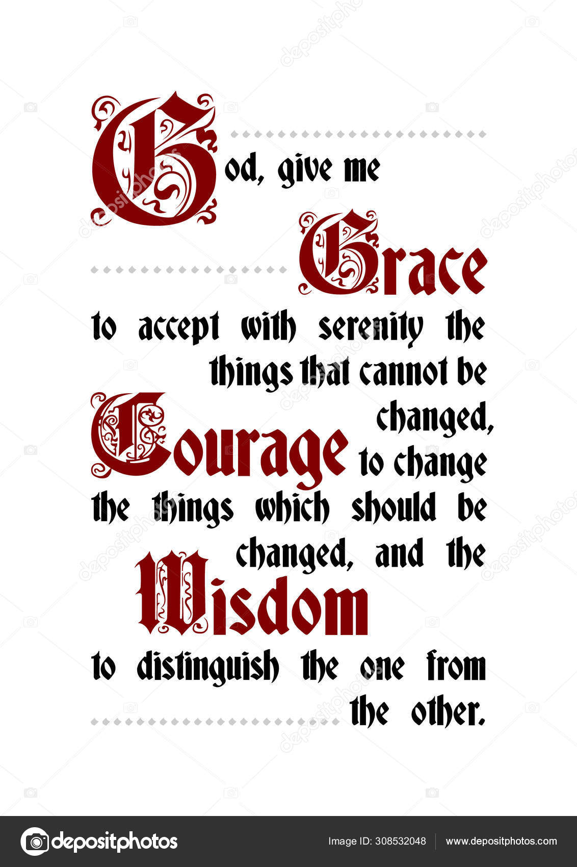 serenity prayer poster lettering text vector image by c alexeyryumin vector stock 308532048