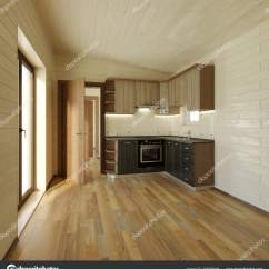 Corner Hutch Kitchen Industrial Appliances 设计舒适的角落厨房在光色调干净的厨房 图库照片 C Sanchopancho00 204502046