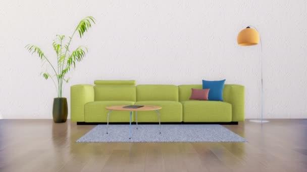 Bright Living Room Interior Modern Minimalist Design Style Sofa Coffee Stock Video C Marsea 201932748