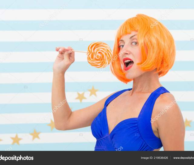 Sexy Woman Happy Pinup Model With Lollipop Crazy Girl In Playful Mood Candy Shop Sweet Look Enjoying Playtime