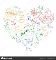 pirate party for little children kindergarten background sea and ocean adventures ship and pirates treasure island vector by helen f [ 1600 x 1700 Pixel ]