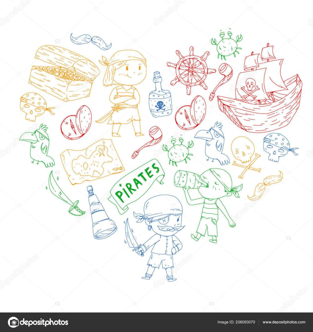 medium resolution of pirate party for little children kindergarten background sea and ocean adventures ship and pirates treasure island vector by helen f