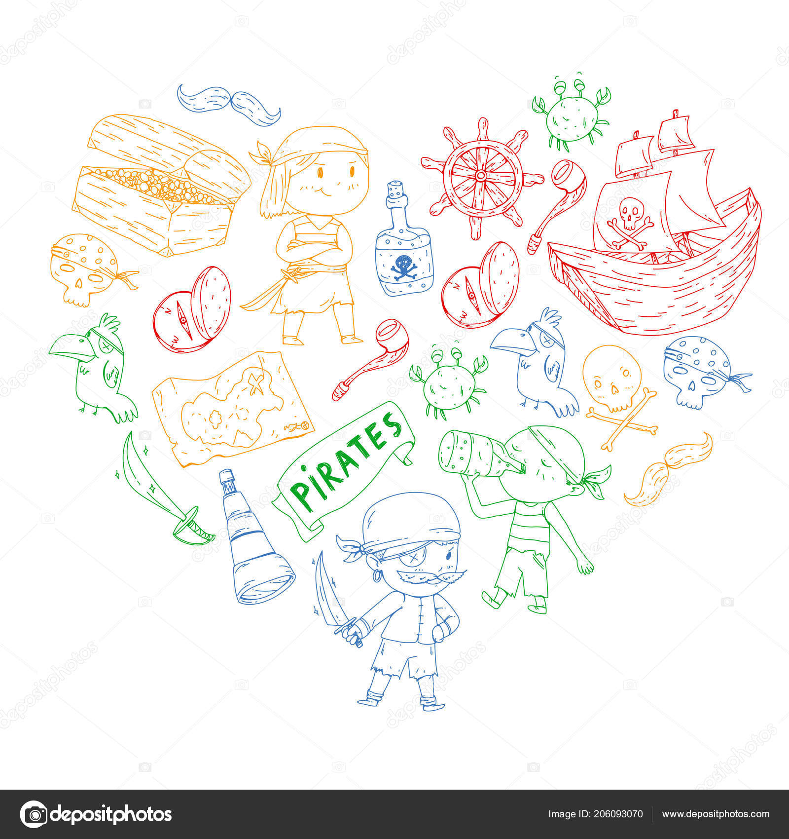 hight resolution of pirate party for little children kindergarten background sea and ocean adventures ship and pirates treasure island vector by helen f