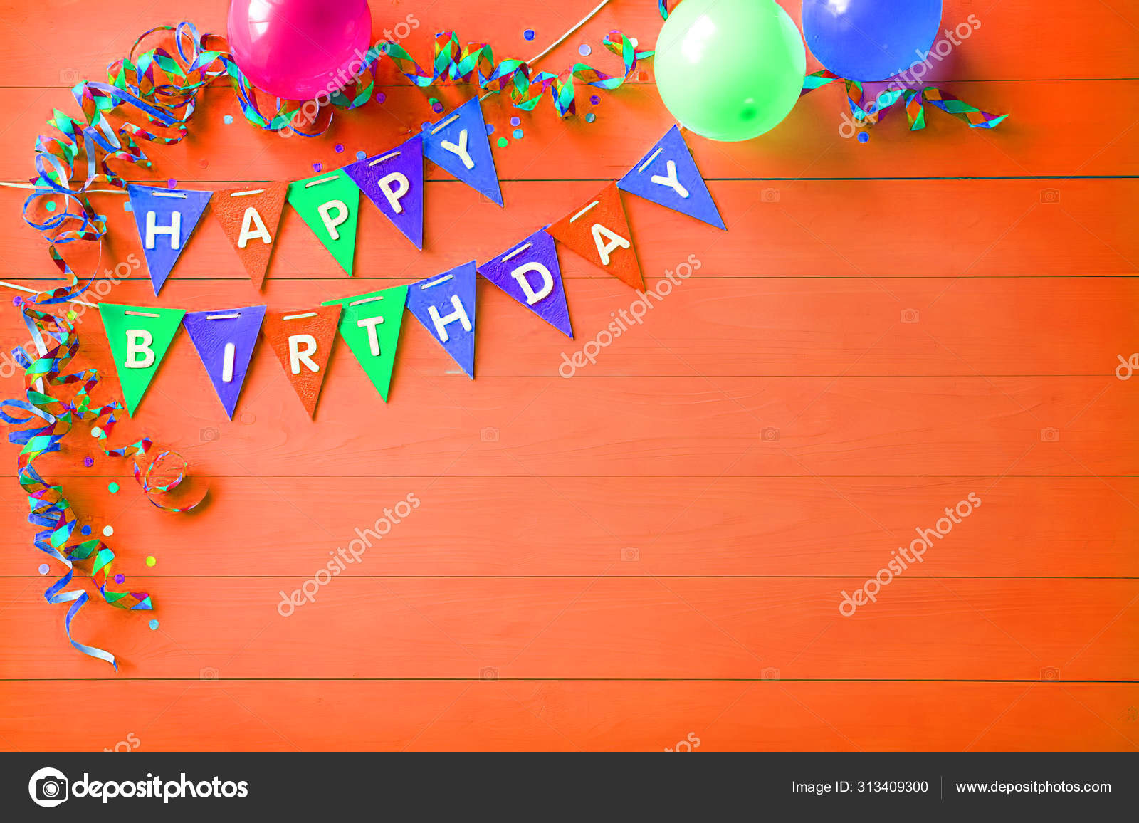 Happy Birthday Party Background With Text And Colorful Tools Stock Photo C Mastercreator 313409300