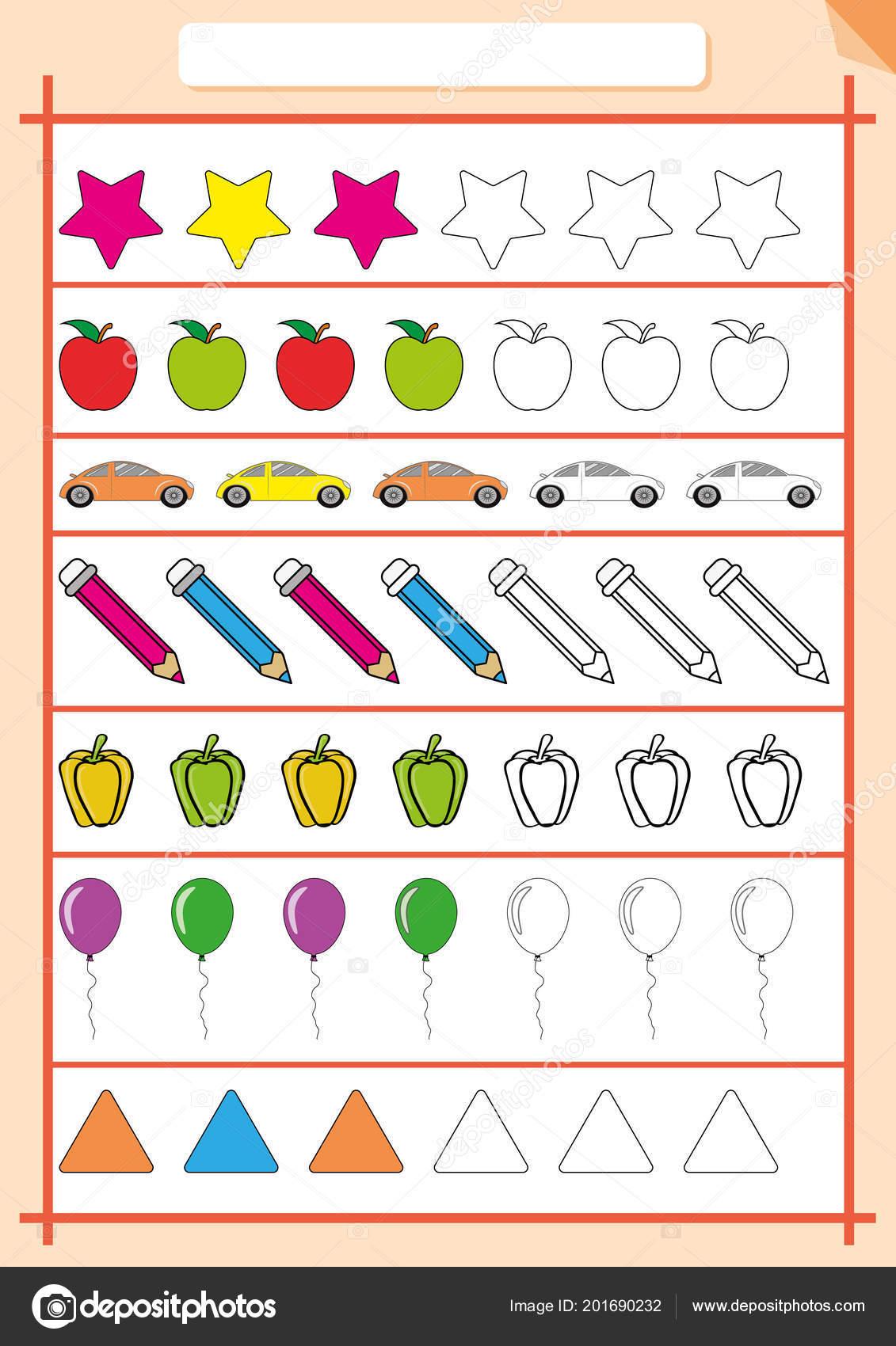 Color Y Completa El Patron Hoja De Calculo Para Ninos