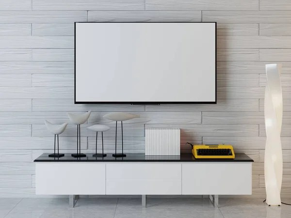 primal kitchen bars porcelanosa cabinets 黑白原始厨房内部有混凝土地板黑色和蓝色台面和阁楼窗口渲染模拟 图库 样机海报与电视单位