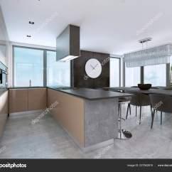 Islands Kitchen Slate Floor 现代化的厨房设有大窗户和带酒吧凳子的岛屿 图库照片 C Kuprin33 227542618