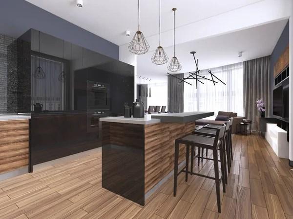 kitchen island with bar farmhouse cabinets for sale 明亮的现代厨房与设计酒吧 图库照片 c kuprin33 83413876 现代厨房与木材和光泽黑色
