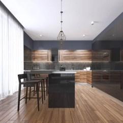 Kitchen Island With Bar Long Design 明亮的现代厨房与设计酒吧 图库照片 C Kuprin33 83413876 现代厨房与木材和光泽黑色