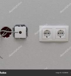 electric power outlets connection protruding wires wall wallpaper stock photo [ 1600 x 1167 Pixel ]