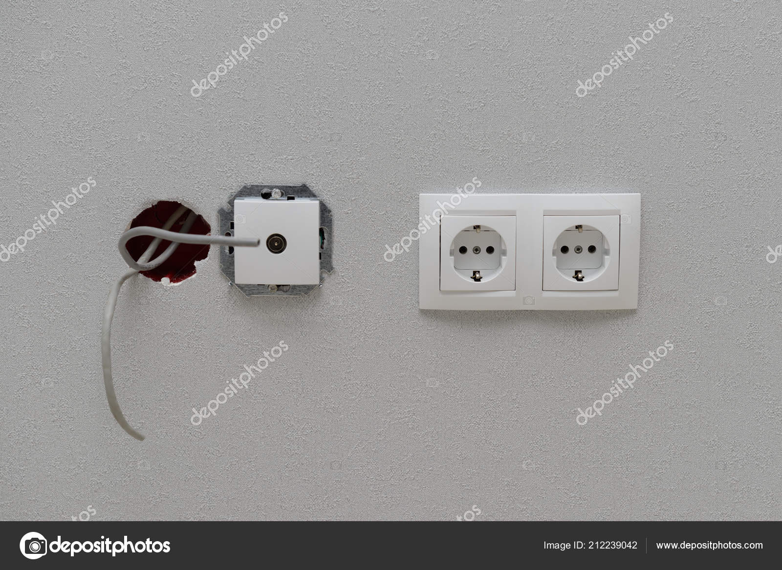 hight resolution of electric power outlets connection protruding wires wall wallpaper stock photo