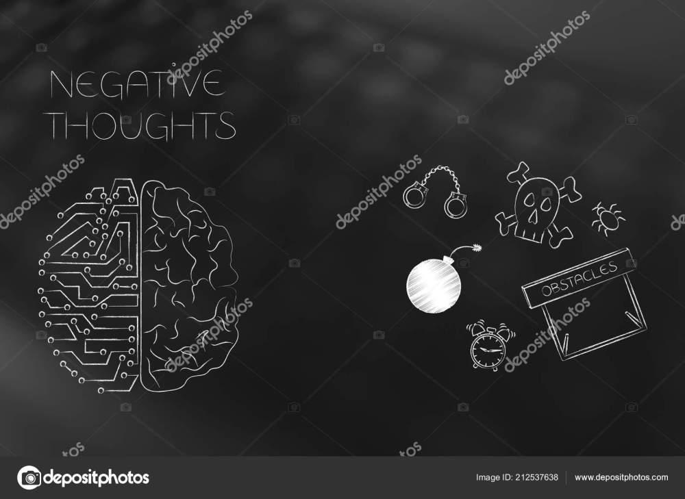 medium resolution of positive negative attitude conceptual illustration stressed thoughts circuit human brain stock photo