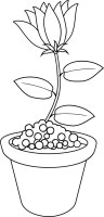 Punkt zu Punkt und coloring Page   Blumentopf ...
