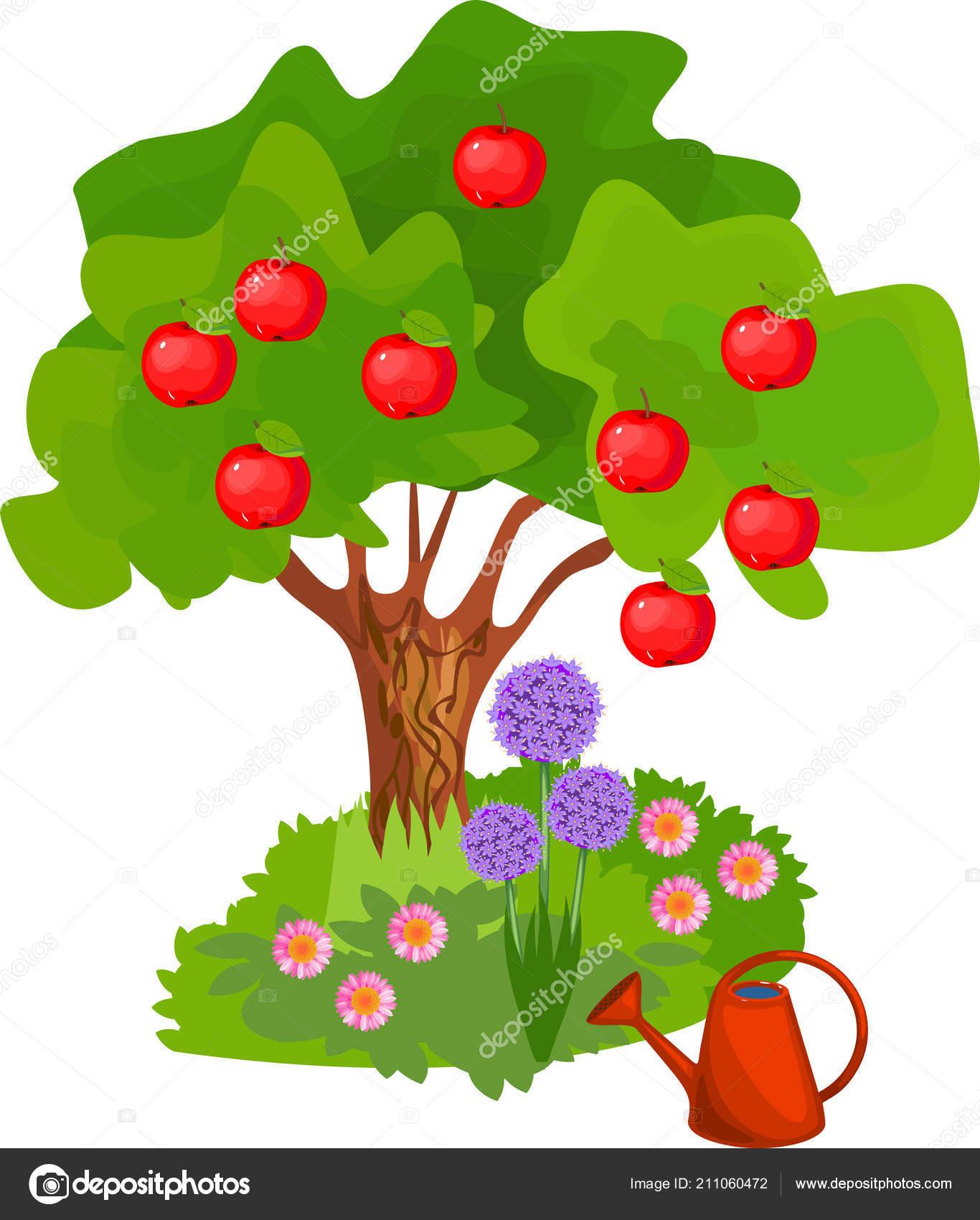 cartoon apple tree green