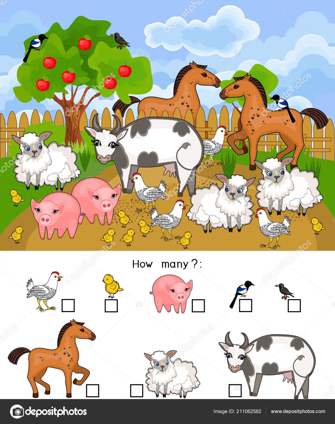 Cuantos Animales Juego Educativo Con Animales Granja Distintos Conteo Para