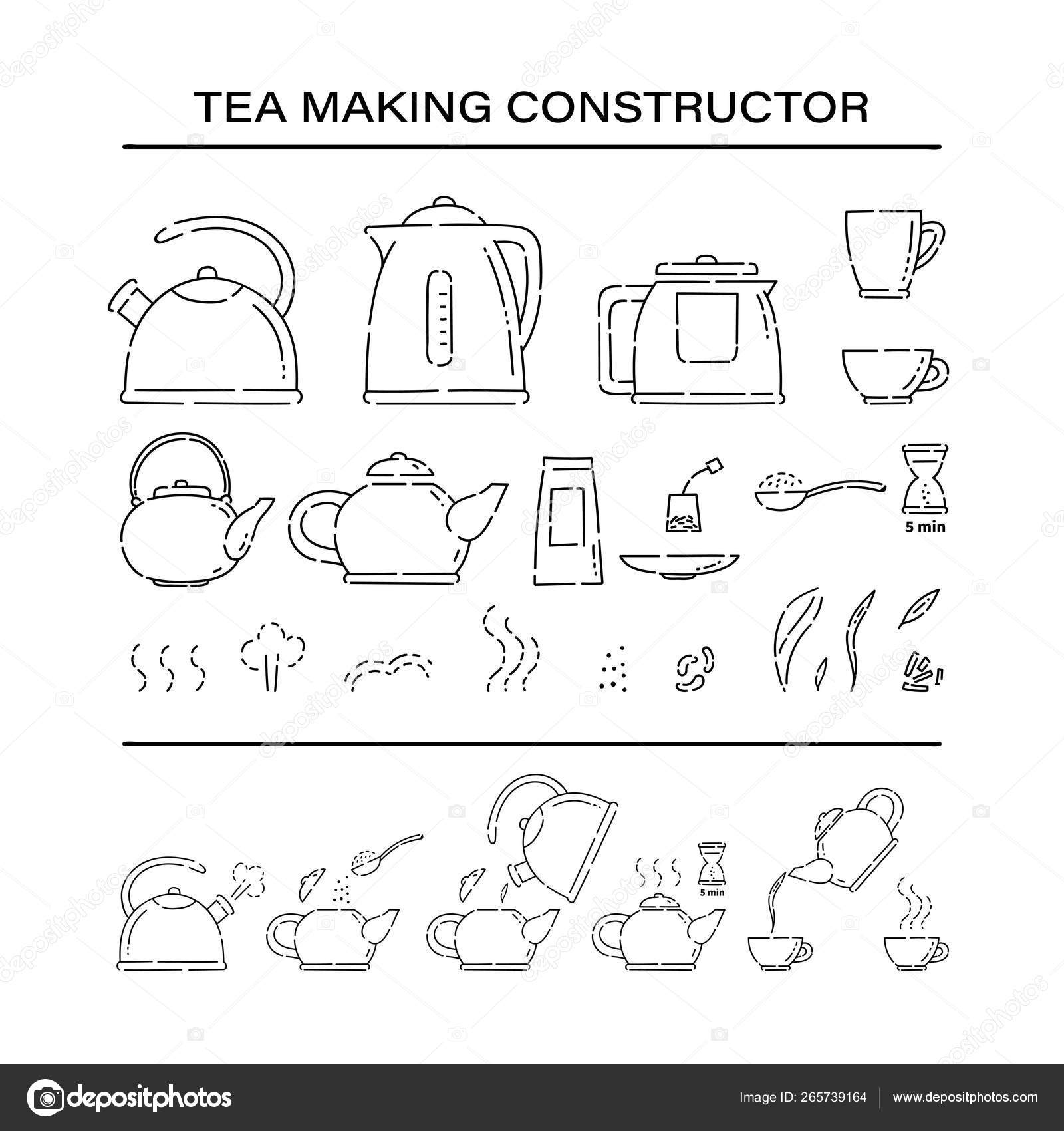 hight resolution of how to make hot drink teapot and boil in the kettle water vector line art sketch black white isolated illustration vector de