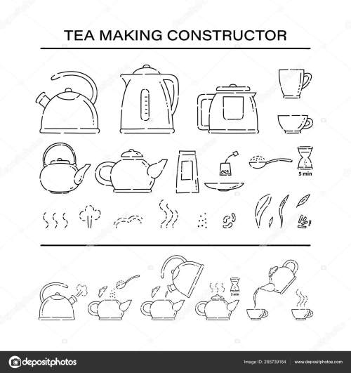 small resolution of how to make hot drink teapot and boil in the kettle water vector line art sketch black white isolated illustration vector de
