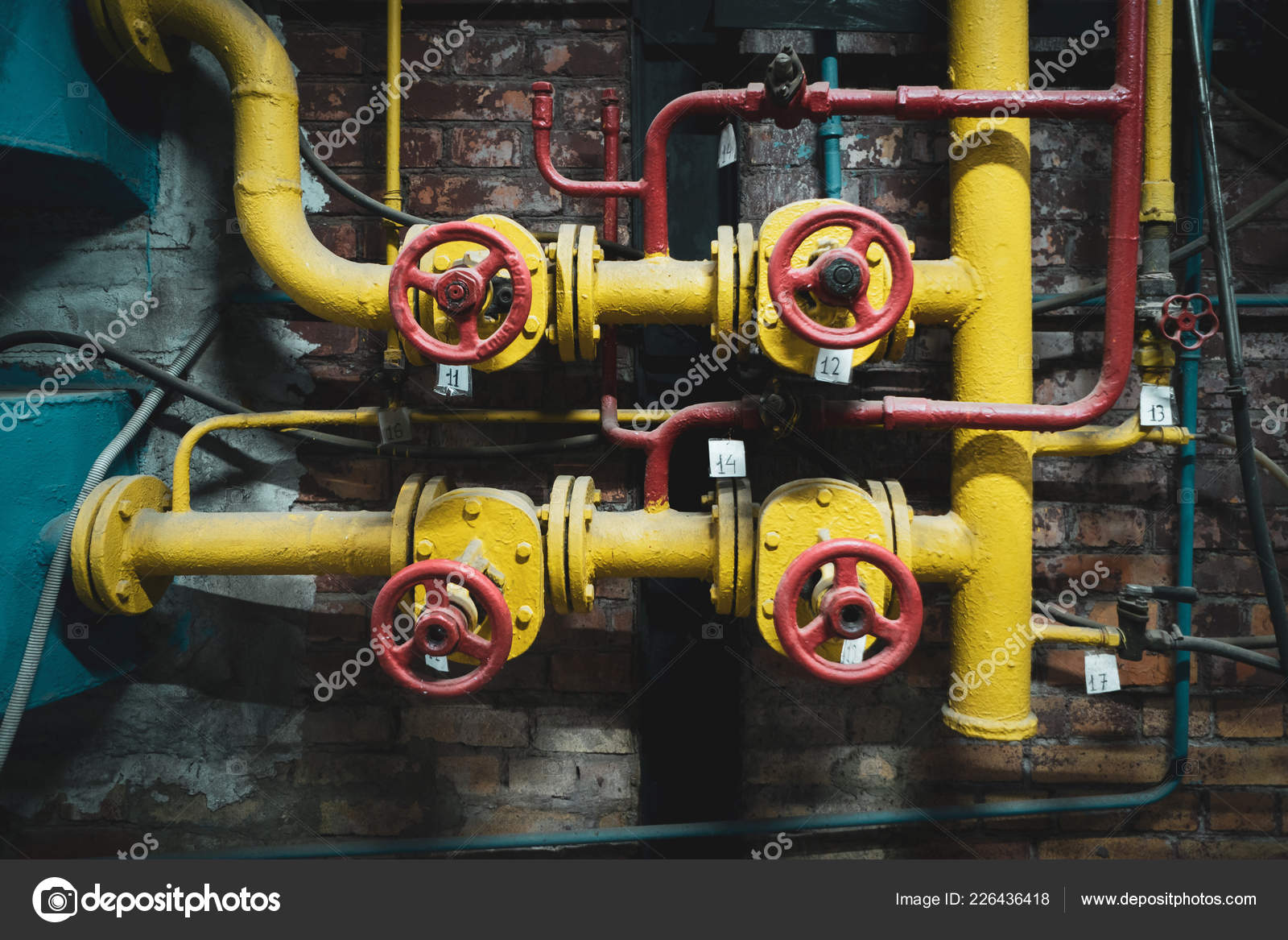 hight resolution of background vintage steampunk from steam pipes and pressure gauge stock image